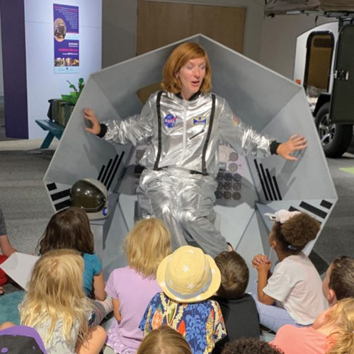 Space Lady with kids